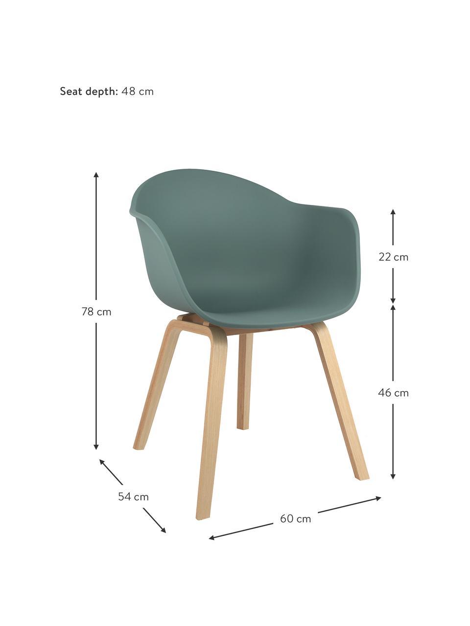 Krzesło z podłokietnikami z tworzywa sztucznego Claire, Nogi: drewno bukowe, Zielony, S 60 x G 54 cm