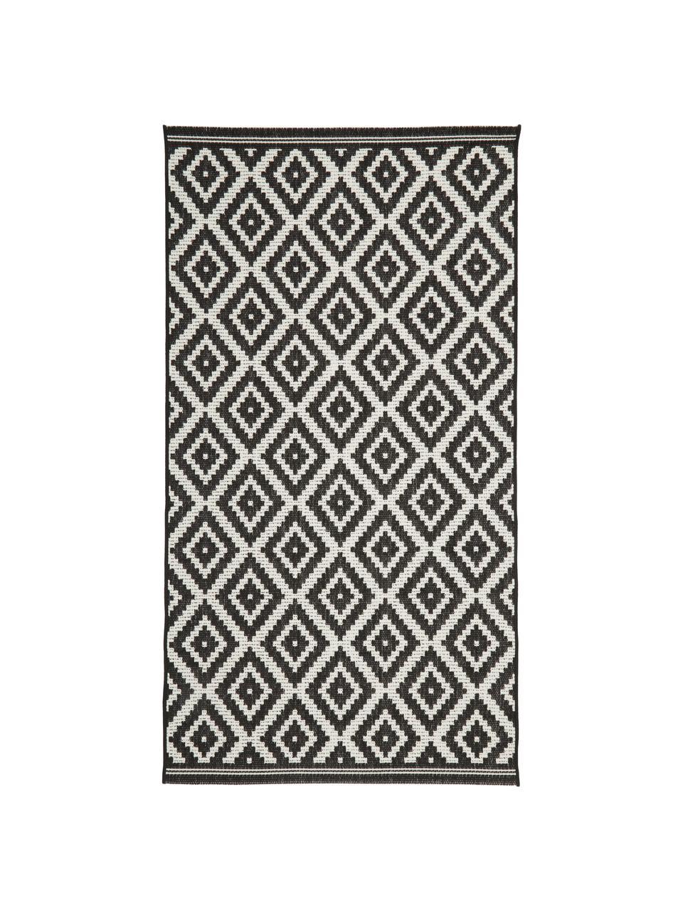 Gemusterter In- & Outdoor-Teppich Miami in Schwarz/Weiß, 86% Polypropylen, 14% Polyester, Cremeweiß, Schwarz, B 160 x L 230 cm (Größe M)