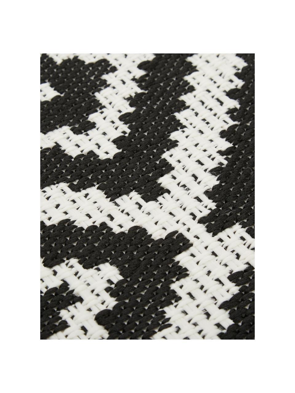 Tappeto fantasia color nero/bianco da interno-esterno Miami, 86% polipropilene, 14% poliestere, Bianco crema, nero, Larg. 200 x Lung. 290 cm (taglia L)