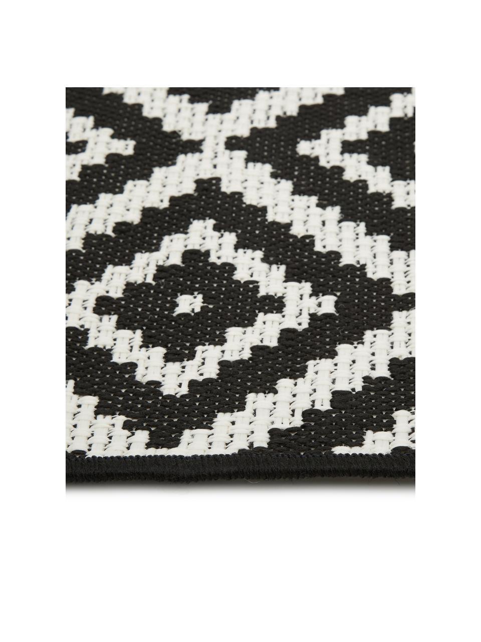 In- & outdoor vloerkleed met patroon Miami in zwart/wit, 86% polypropyleen, 14% polyester, Crèmewit, zwart, B 160 x L 230 cm (maat M)