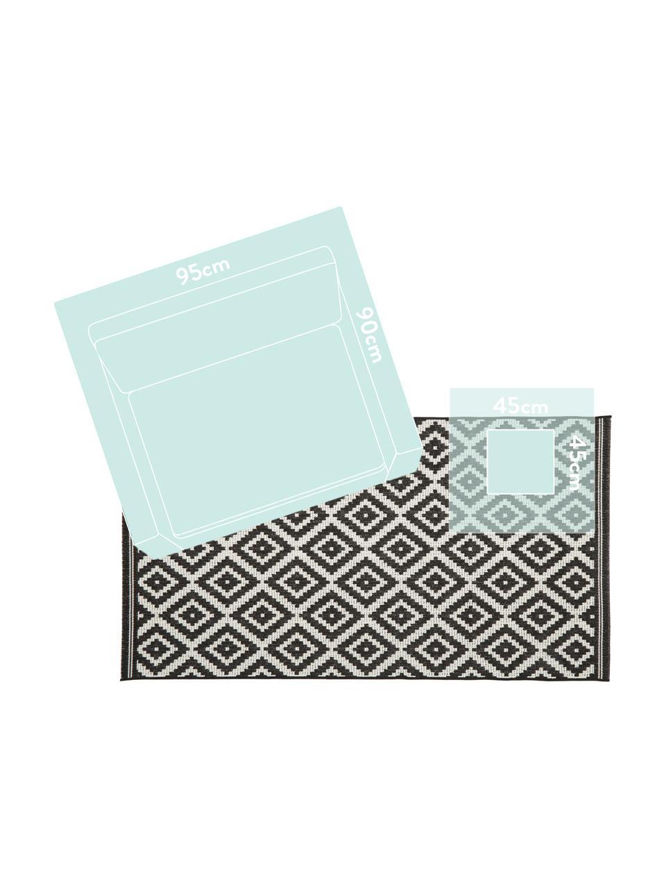 Alfombra de interior/exterior Miami, 86%polipropileno, 14%poliéster, Blanco crema, negro, An 200 x L 290 cm (Tamaño L)