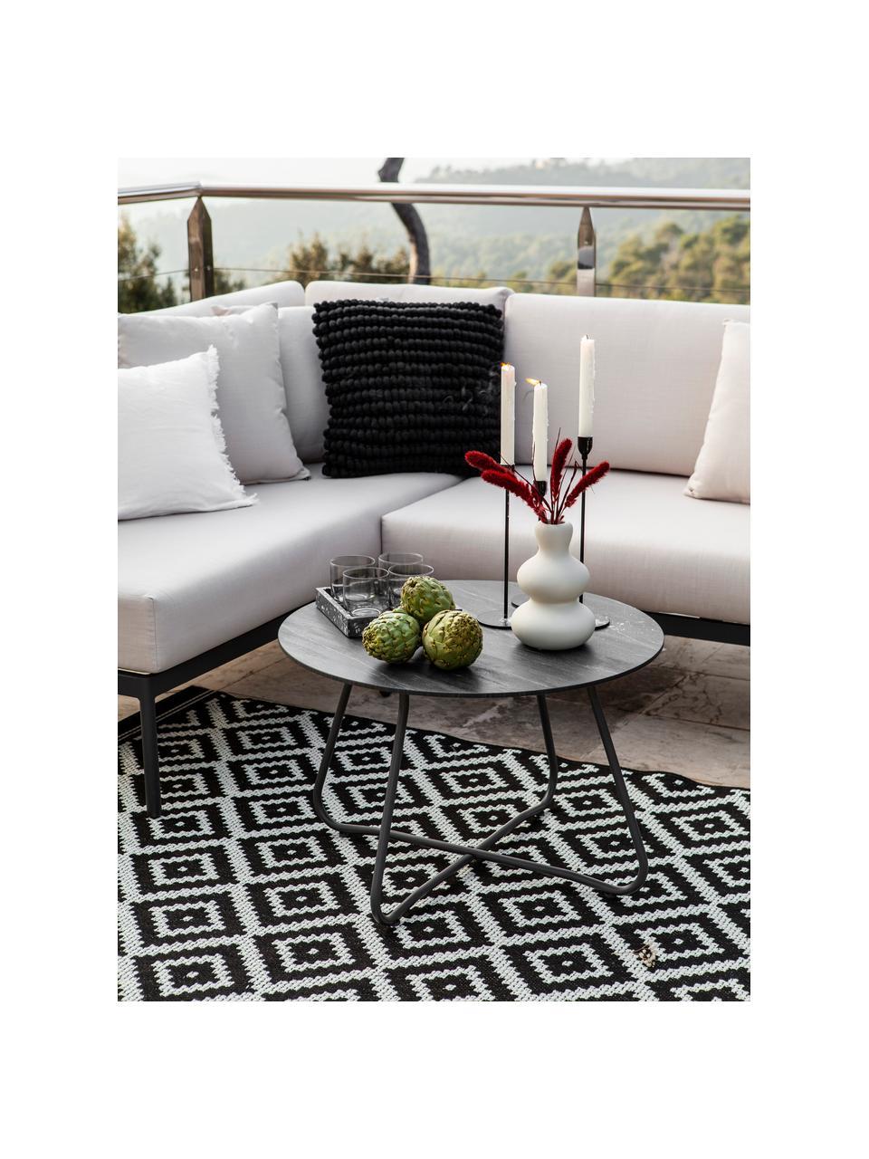 Tappeto nero/bianco da interno-esterno Miami, 86% polipropilene, 14% poliestere, Bianco crema, nero, Larg. 160 x Lung. 230 cm  (taglia M)