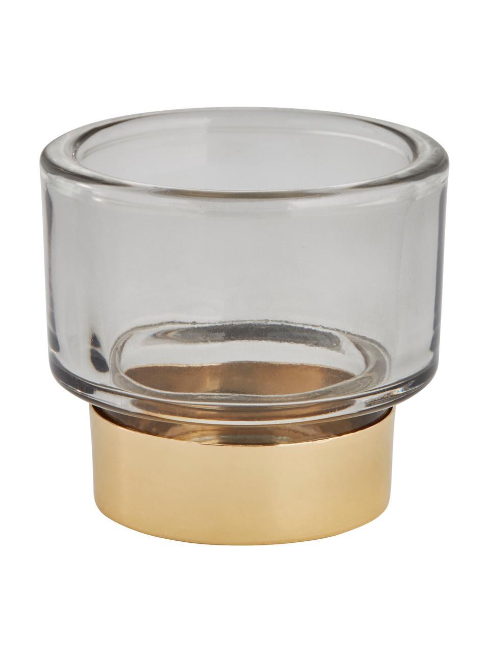 Bougeoir en verre fait main Miy, Gris, transparent, couleur dorée