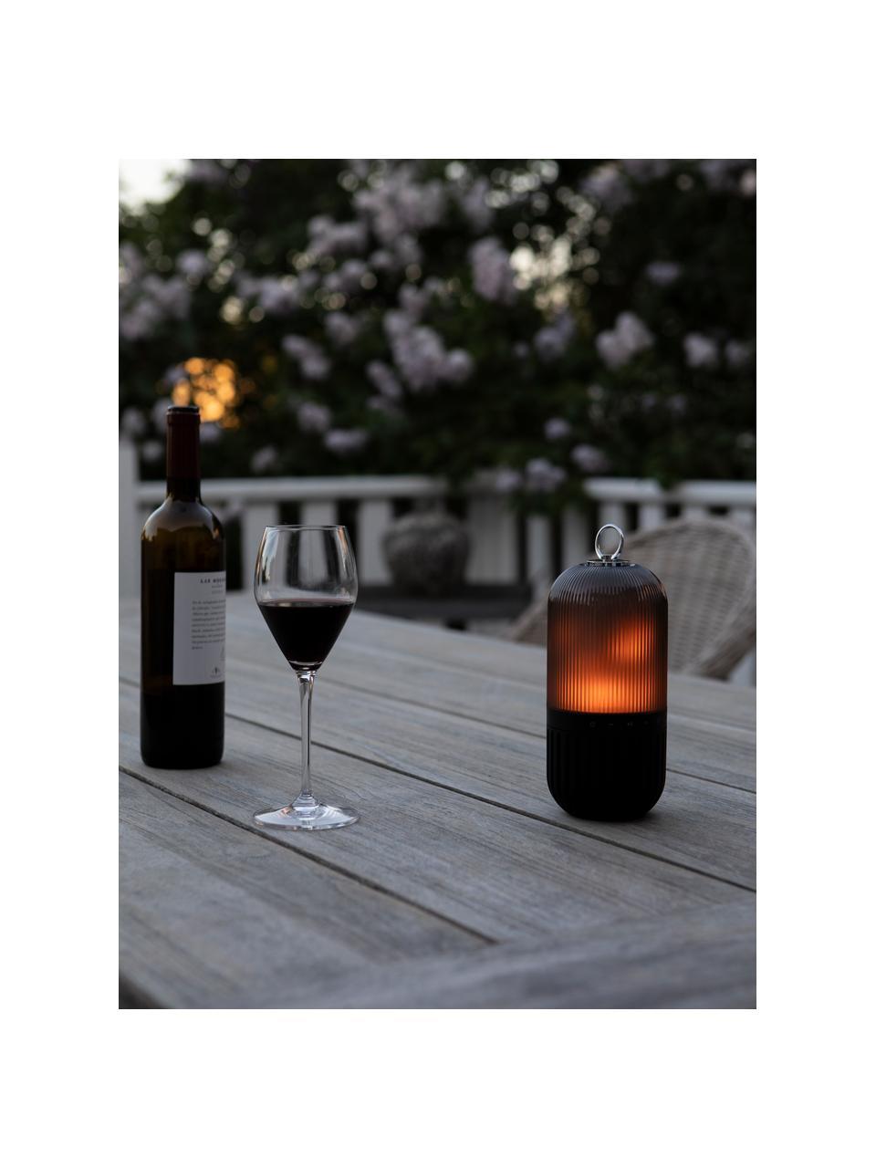 Outdoor lamp New Flame, voor op de vloer, tafel of hangend, Lampvoet: aluminium, Lampenkap: kunststof, Zwart, transparant, Ø 10 x H 88 cm