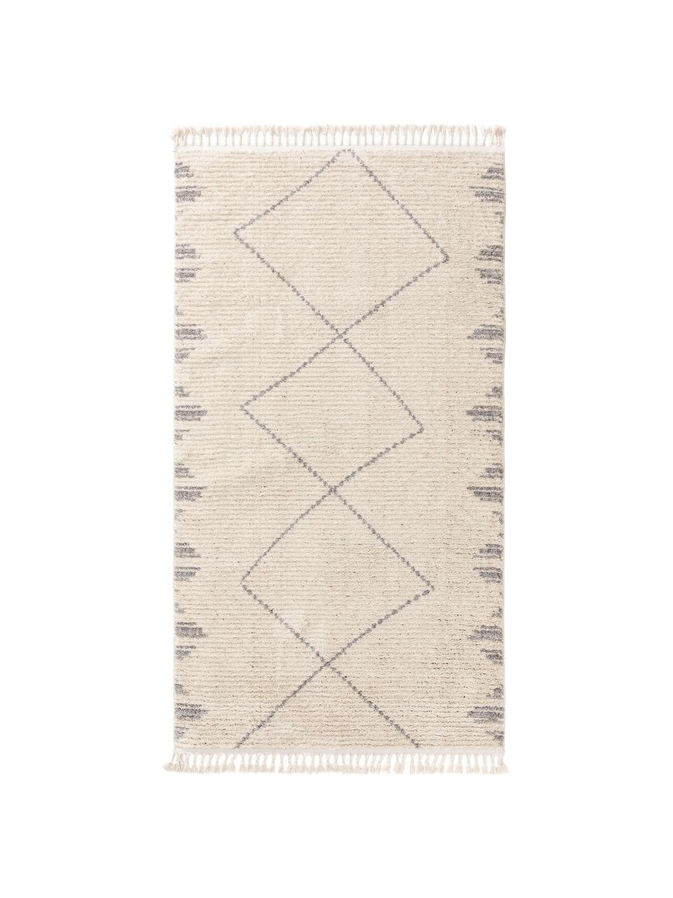 Hochflor-Teppich Bosse mit Bohomuster und Fransen, 100% Polyester, Hellbeige, Grau, B 160 x L 230 cm (Größe M)