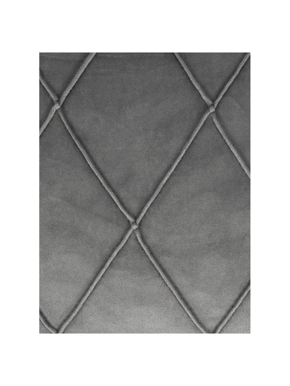 Federa arredo in velluto con motivo a rombi Nobless, 100% velluto di poliestere, Grigio, Larg. 40 x Lung. 40 cm