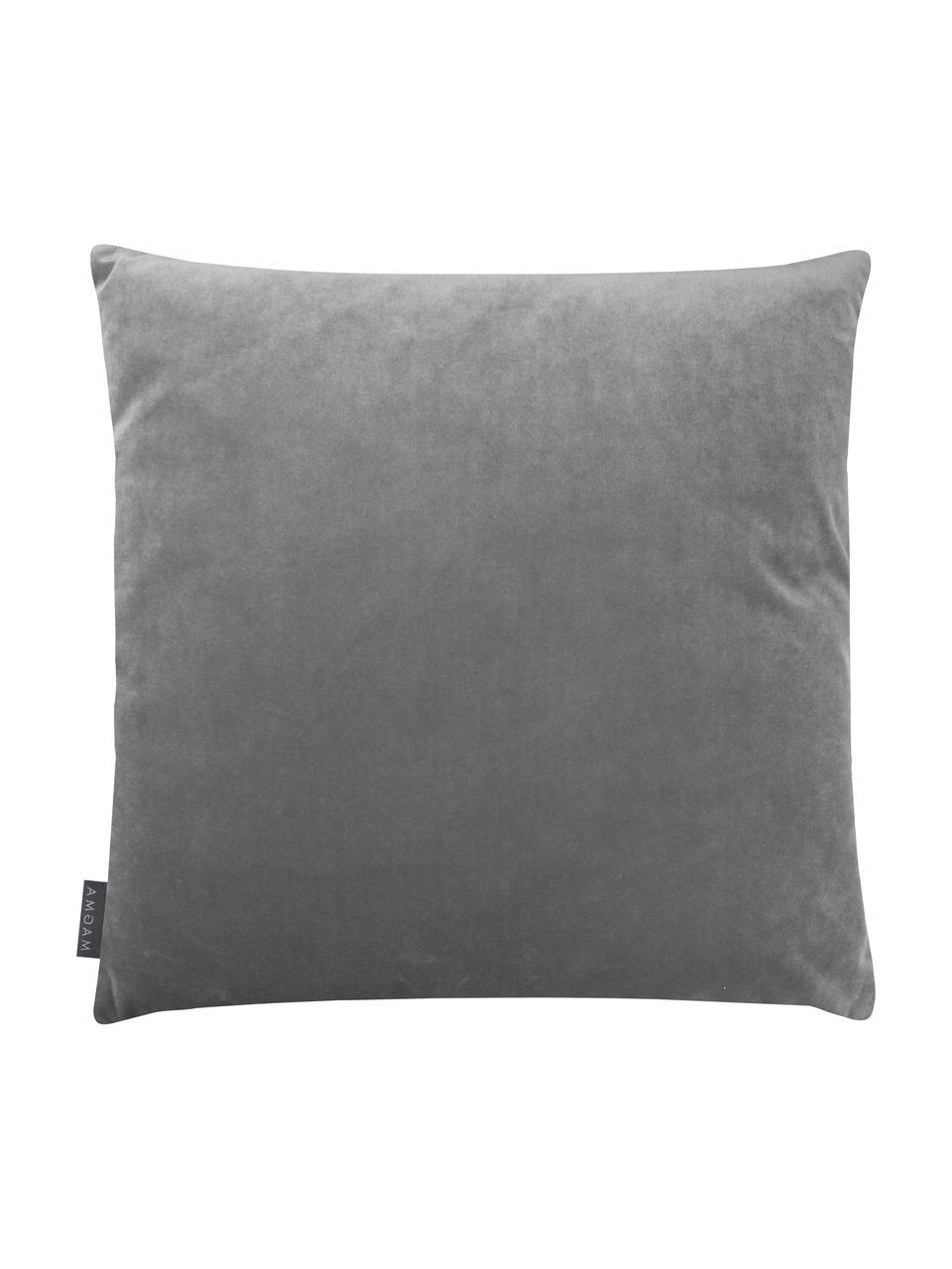 Samt-Kissenhülle Nobless in Grau mit erhabenem Rautenmuster, 100% Polyestersamt, Grau, 40 x 40 cm