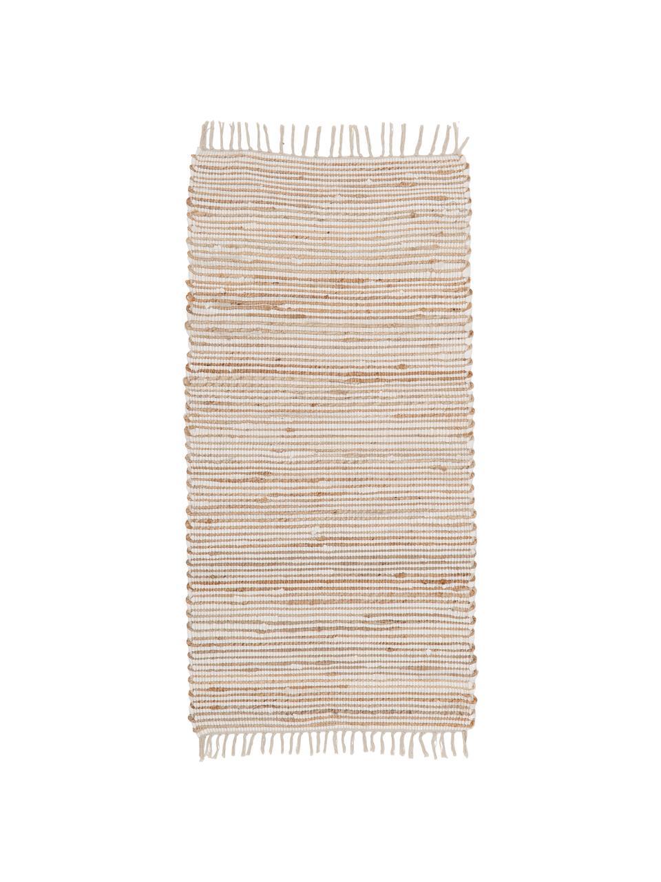 Teppich Arlid aus Baumwolle/Hanffasern, 60% Baumwolle, 40% Hanffasern, Creme, Beige, B 60 x L 120 cm (Größe XS)