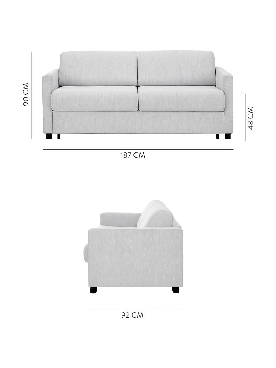 Schlafsofa Morgan (2-Sitzer) in Hellgrau, mit Matratze, Bezug: 100% Polyester Der hochwe, Füße: Massives Kiefernholz, lac, Grau, B 187 x T 92 cm