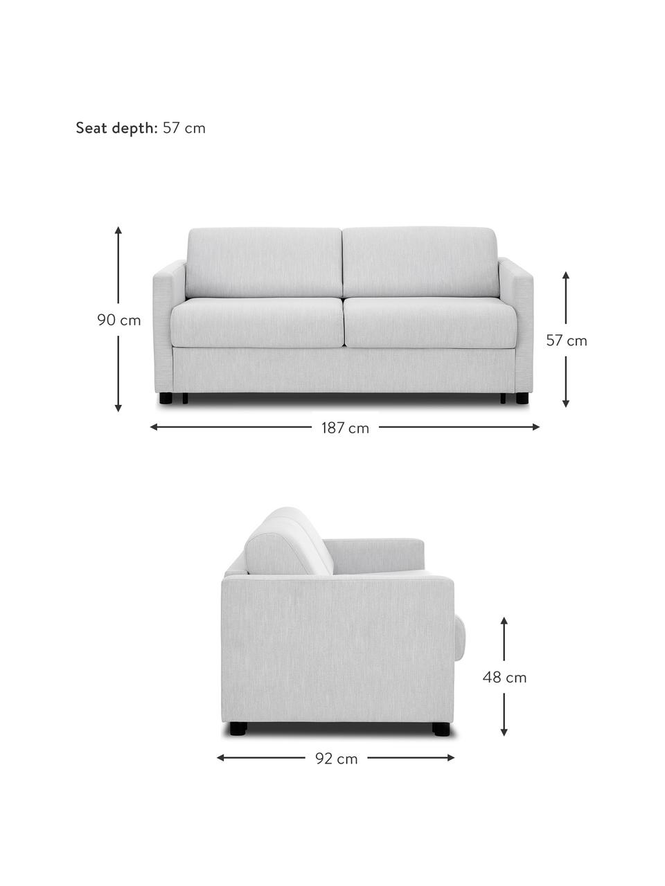 Schlafsofa Morgan (2-Sitzer) in Hellgrau, ausklappbar, Bezug: 100% Polyester Der hochwe, Füße: Massives Kiefernholz, lac, Webstoff Grau, B 187 x T 92 cm