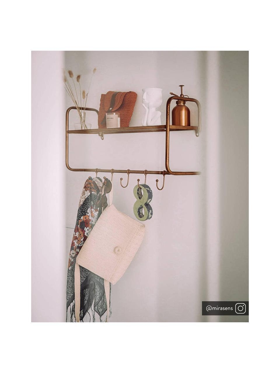 Antieke wandkapstok Hatstand met 5 haken en hoedenplank, Messingkleurig met antieke afwerking, 63 x 23 cm
