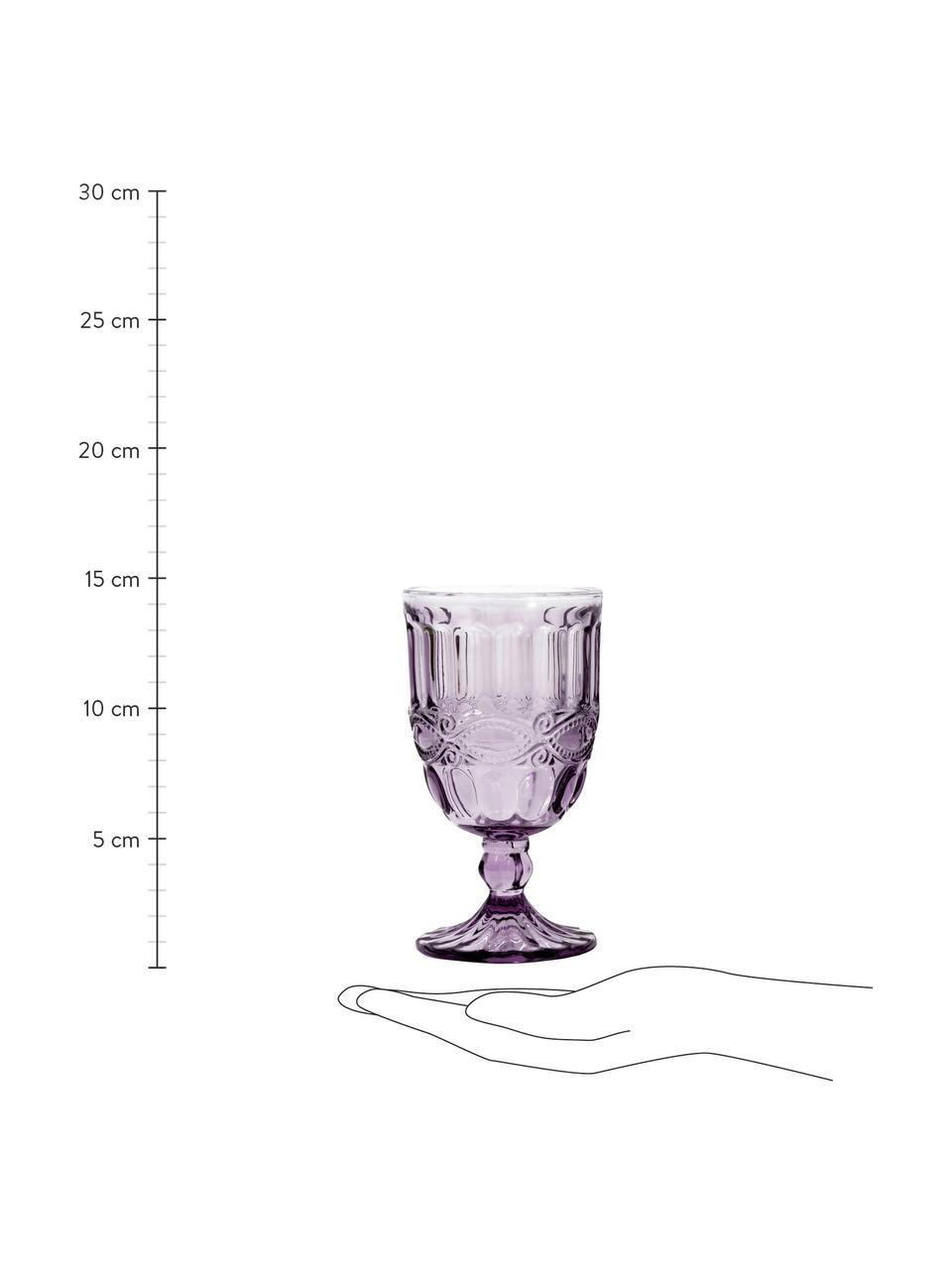 Kieliszek do wina Solange, 6 szt., Szkło farbowane, Transparentny, lila, Ø 8 x W 15 cm