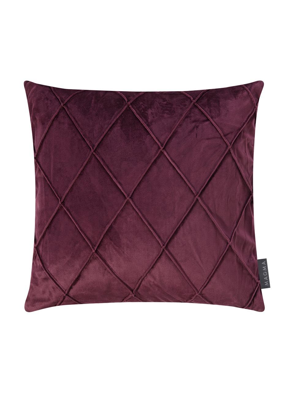Poszewka na poduszkę z aksamitu Nobless, 100% aksamit poliestrowy, Wiśniowy, S 40 x D 40 cm