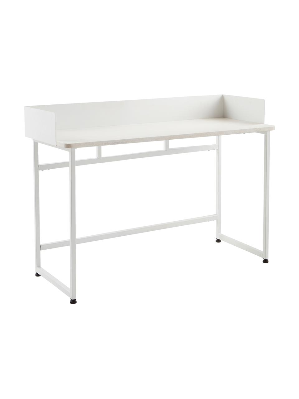 Schmaler Schreibtisch Liberty in Weiß, Tischplatte: Mitteldichte Holzfaserpla, Gestell: Metall, beschichtet, Rand: Metall, beschichtet, Weiß, B 110 x T 45 cm
