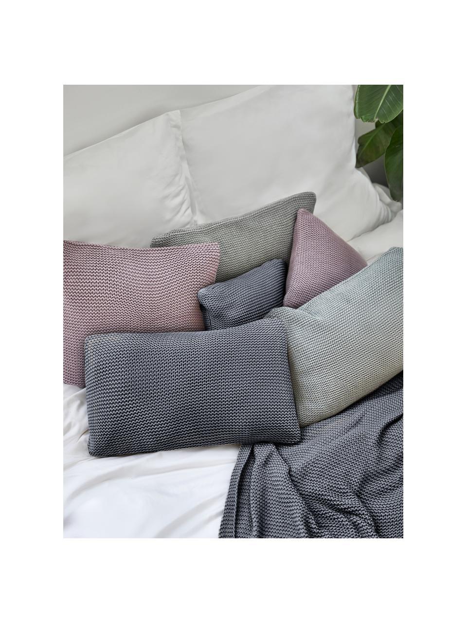 Strick-Kissenhülle Adalyn aus Bio-Baumwolle in Grau, 100% Bio-Baumwolle, GOTS-zertifiziert, Grau, 40 x 60 cm
