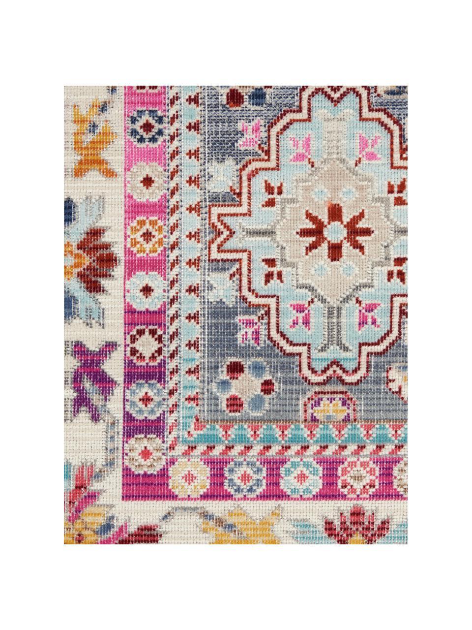 Tappeto con motivo vintage colorato Vintage Kashan, Retro: lattice, Grigio, multicolore, Larg. 270 x Lung. 360 cm (taglia XL)