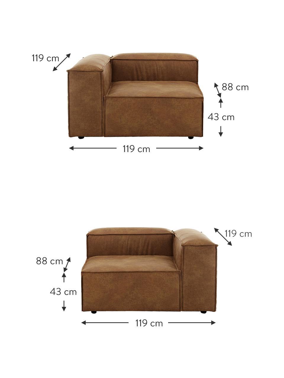 Sofa modułowa ze skóry z recyklingu Lennon (3-osobowa), Tapicerka: skóra z recyklingu (70% s, Nogi: tworzywo sztuczne Nogi zn, Brązowy, S 238 x G 119 cm