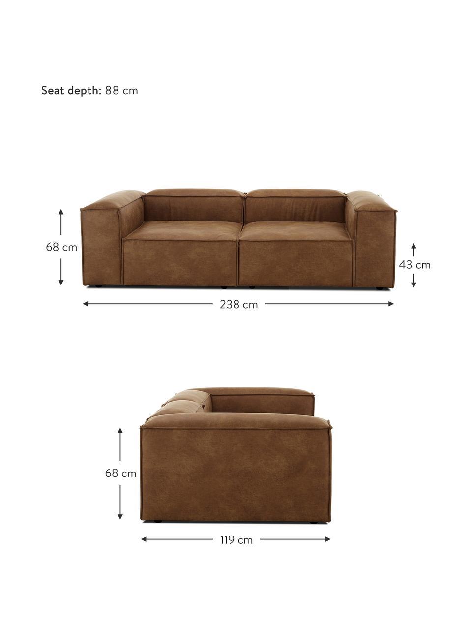 Sofa modułowa ze skóry z recyklingu Lennon (3-osobowa), Tapicerka: skóra z recyklingu (70% s, Nogi: tworzywo sztuczne Nogi zn, Skórzany brązowy, S 238 x G 119 cm