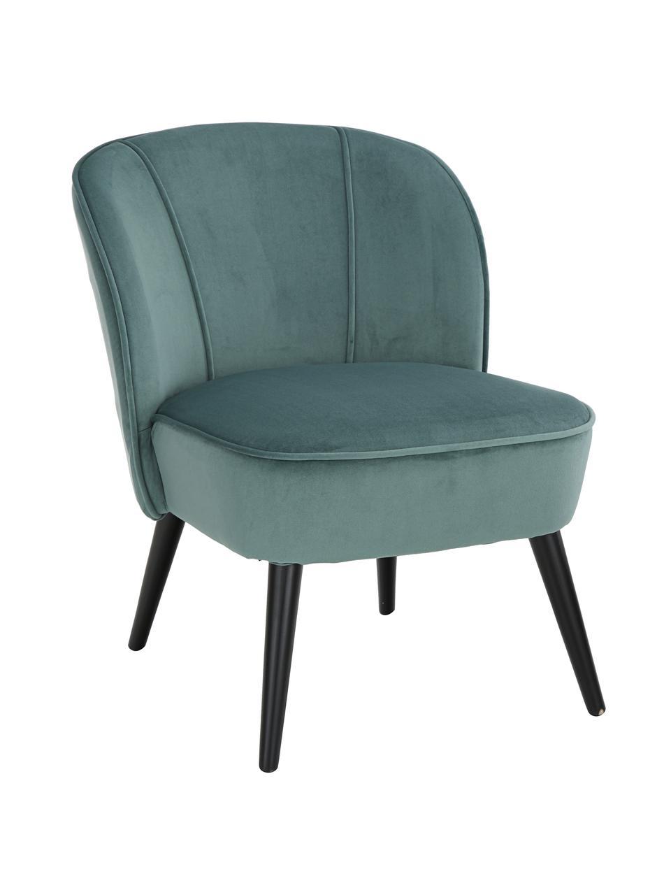 Poltrona in velluto blu verde Lucky, Rivestimento: velluto (poliestere) 30.0, Piedini: legno di caucciù vernicia, Velluto blu verde, Larg. 59 x Prof. 68 cm