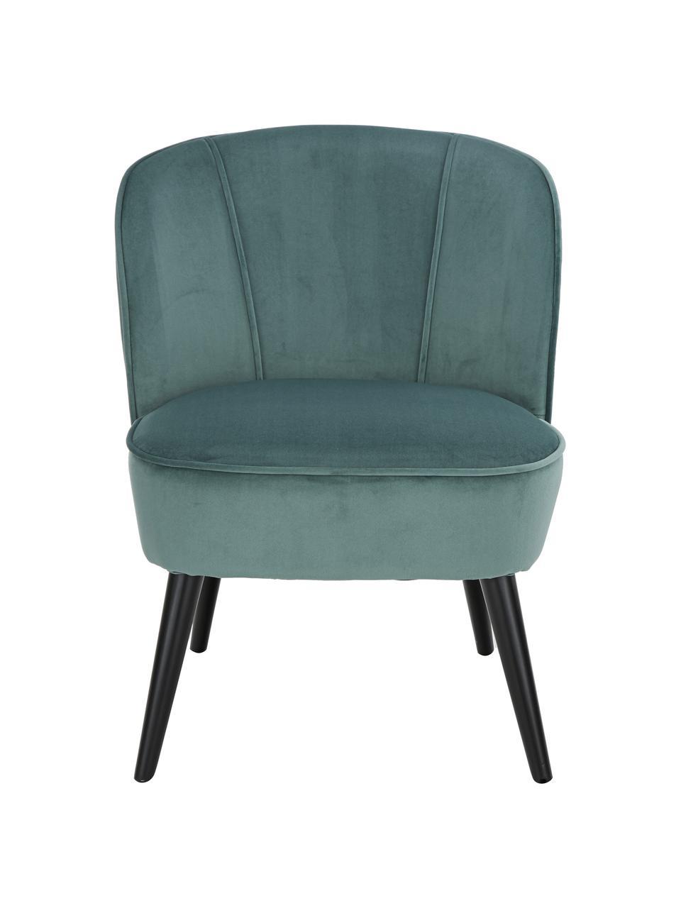 Fotel koktajlowy z aksamitu Lucky, Tapicerka: aksamit (poliester) Dzięk, Nogi: drewno kauczukowe, lakier, Aksamitny niebieskozielony, S 59 x G 68 cm