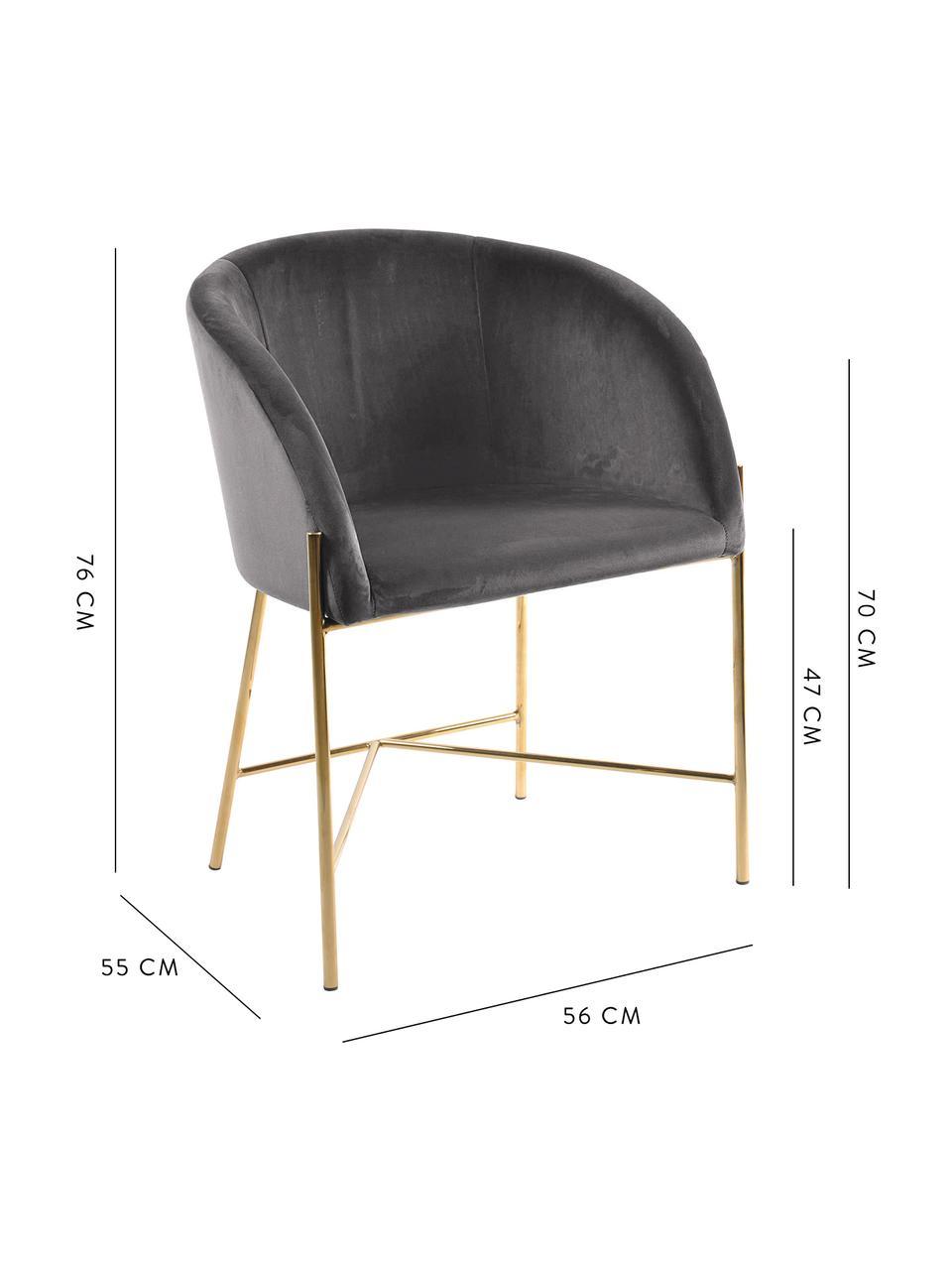 Krzesło tapicerowane z aksamitu Nelson, Tapicerka: aksamit poliestrowy Dzięk, Nogi: metal mosiądzowany, Aksamitny ciemny szary, nogi: złoty, S 56 x G 55 cm