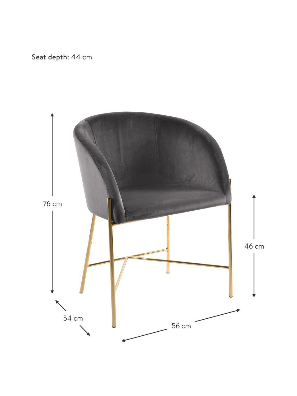 Samt-Polsterstuhl Nelson mit Armlehnen, Bezug: Polyestersamt Der hochwer, Beine: Metall, vermessingt, Samt Dunkelgrau, Beine Gold, B 56 x T 55 cm