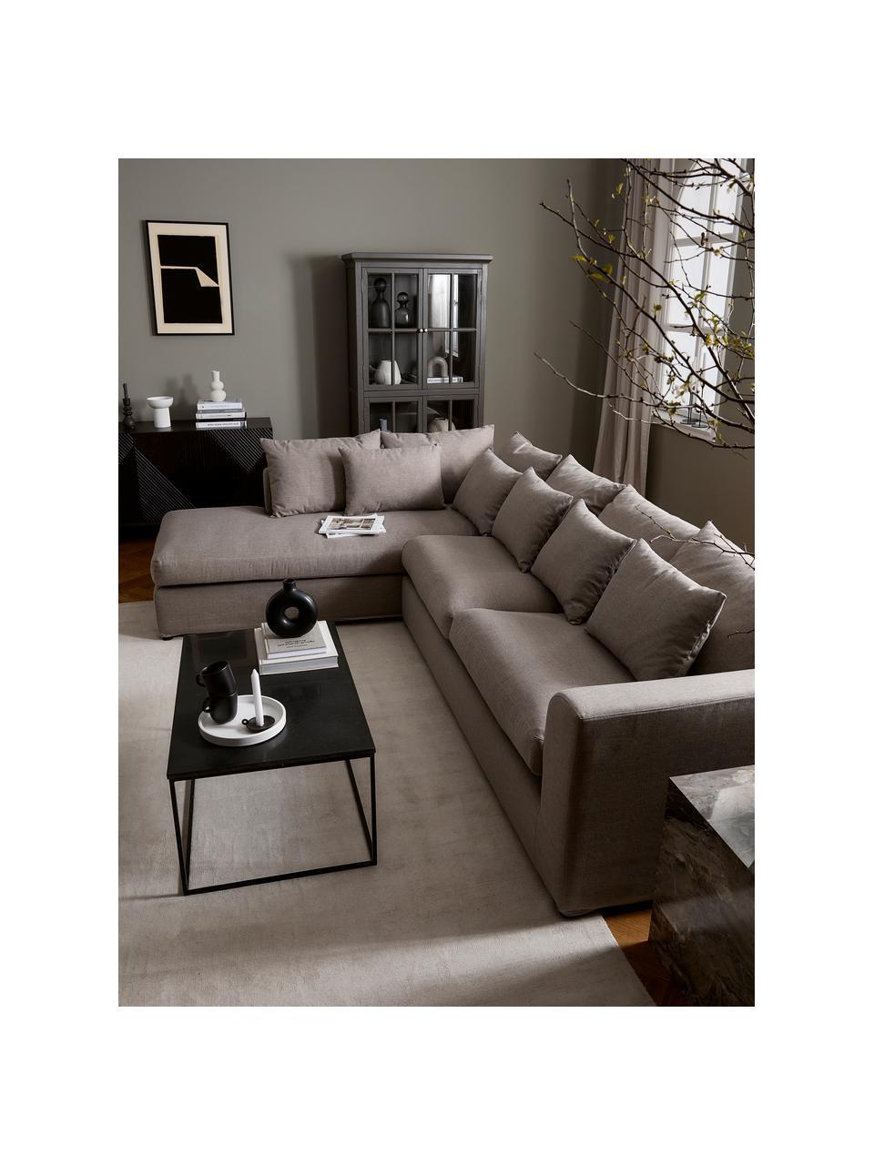 Sofa narożna Zach, Tapicerka: polipropylen Dzięki tkani, Nogi: tworzywo sztuczne, Taupe, S 300 x G 213 cm