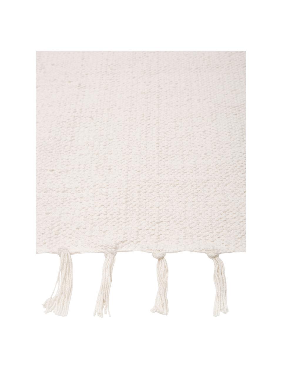 Tenký bavlněný koberec Agneta, ručně tkaný, Krémově bílá