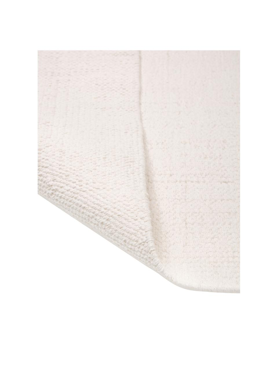 Tappeto in cotone bianco crema tessuto a mano Agneta, 100% cotone, Bianco crema, Larg. 200 x Lung. 300 cm (taglia L)