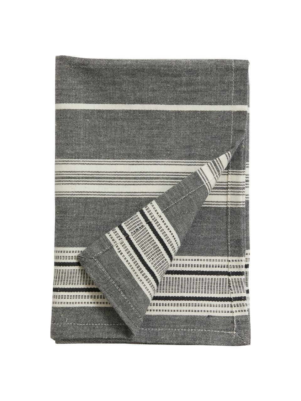 Gestreifte Baumwoll-Geschirrtücher Orio, 2 Stück, 100% Baumwolle, Weiß, Schwarz, 52 x 72 cm