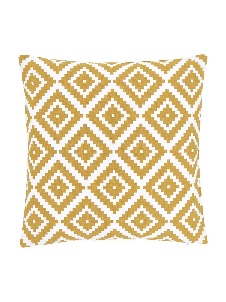 Federa arredo giallo/bianco Miami, 100% cotone, Giallo, Larg. 45 x Lung. 45 cm