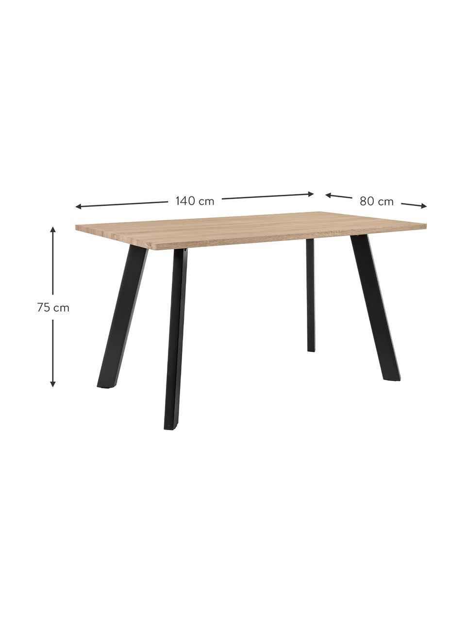 Esstisch Henry mit Eichenholzfurnier, Tischplatte: Mitteldichte Holzfaserpla, Beine: Metall, pulverbeschichtet, Eichenholz, B 140 x T 80 cm