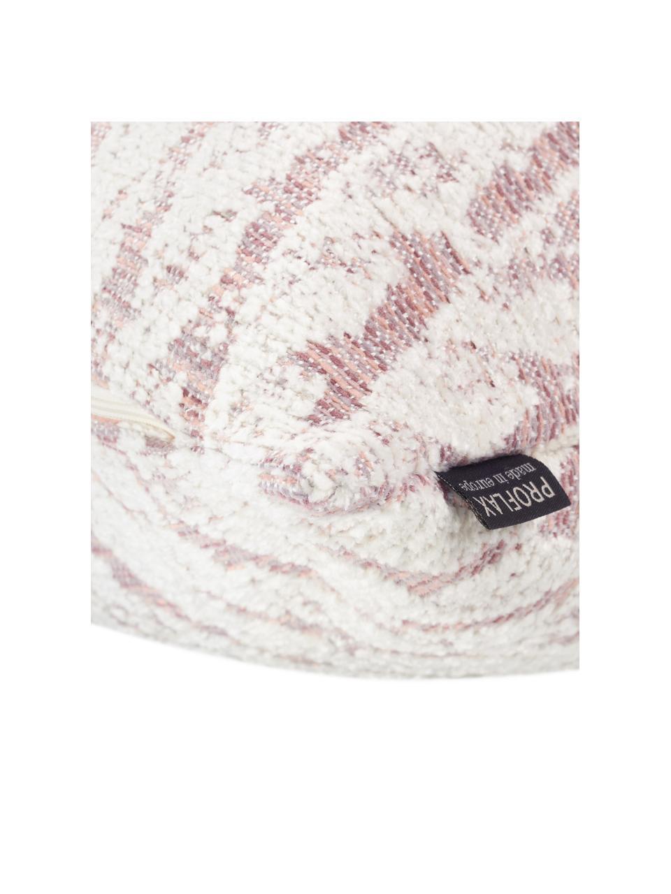 Kissenhülle Illinois in Rosa/Weiß mit grafischem Muster, 45% Polyacryl, 34% Polyester, 21% Polypropylen, Rosa, Weiß, 40 x 40 cm