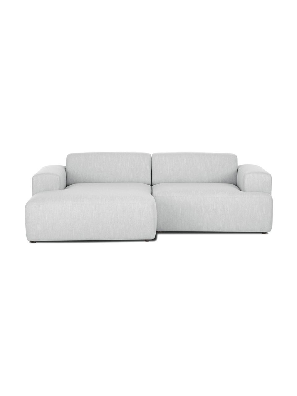 Ecksofa Melva (3-Sitzer) in Hellgrau, Bezug: 100% Polyester Der hochwe, Gestell: Massives Kiefernholz, FSC, Füße: Kunststoff, Webstoff Hellgrau, B 239 x T 143 cm