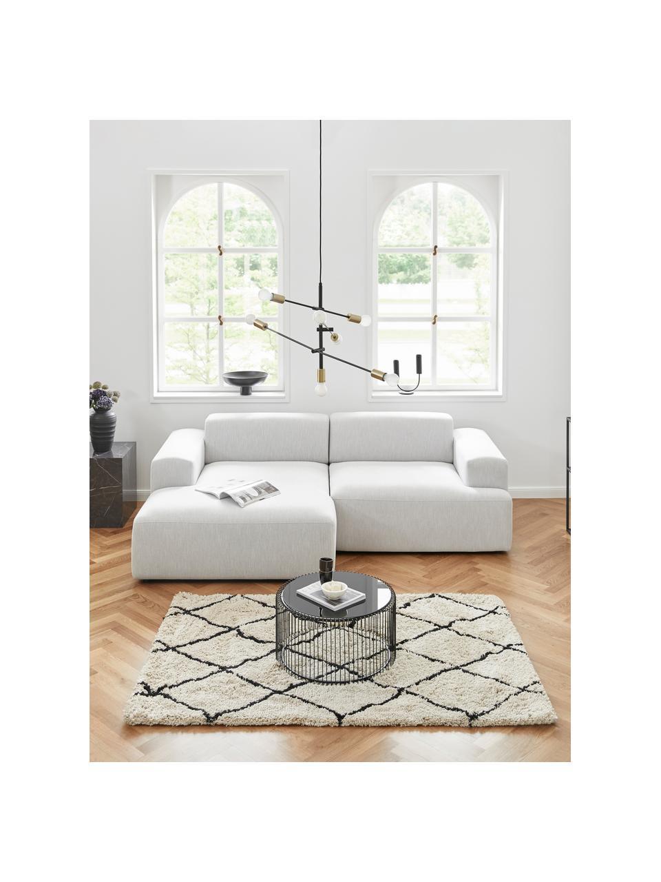 Hoekbank Melva (3-zits) in lichtgrijs, Bekleding: 100% polyester, Frame: massief grenenhout, FSC-g, Poten: kunststof, Lichtgrijs, B 239 x D 143 cm