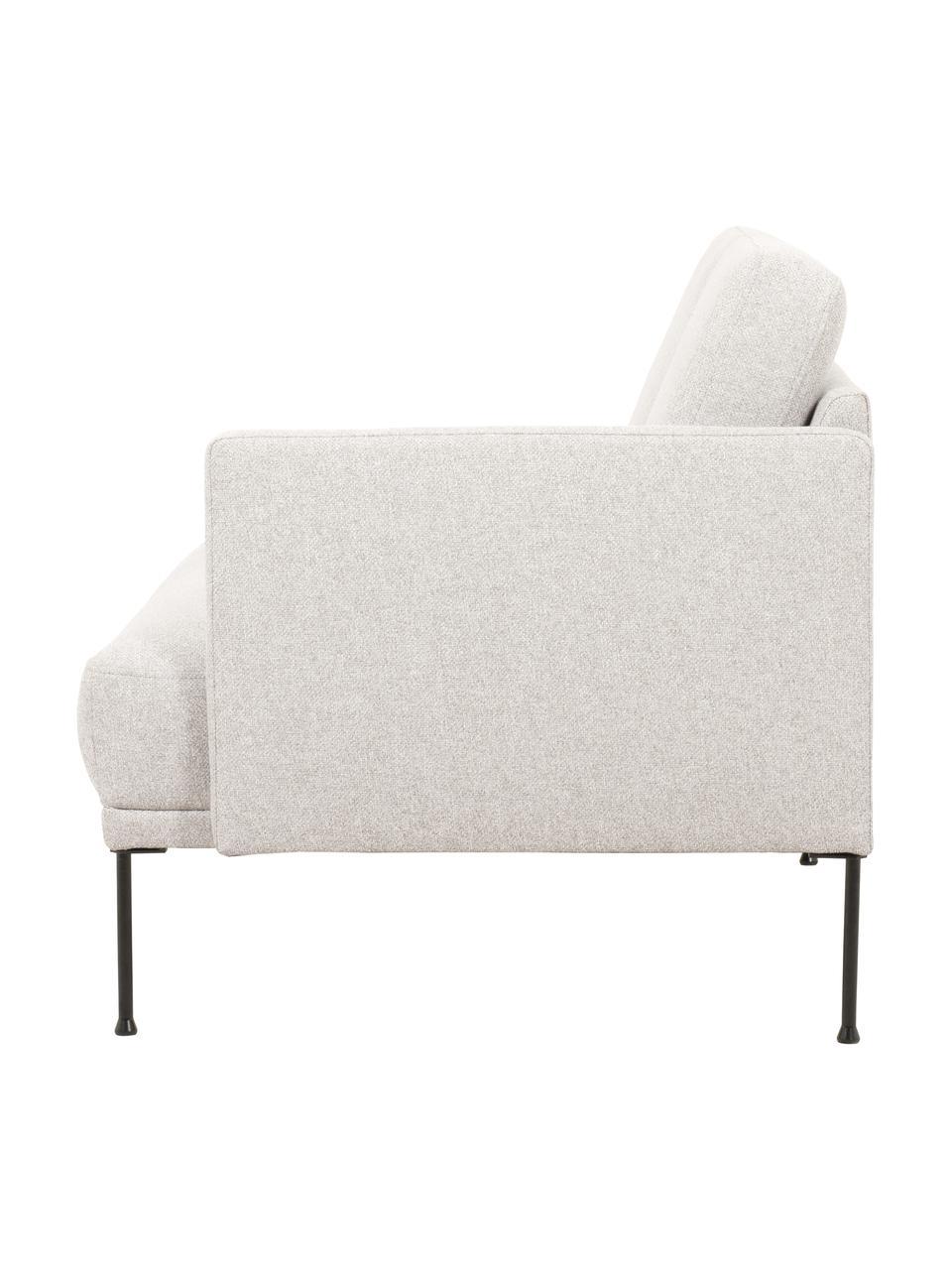 Chaise longue Fluente in beige met metalen poten, Bekleding: 80% Polyester, 20% Ramie, Frame: massief grenenhout, Poten: gepoedercoat metaal, Geweven stof beige, 202 x 79 cm