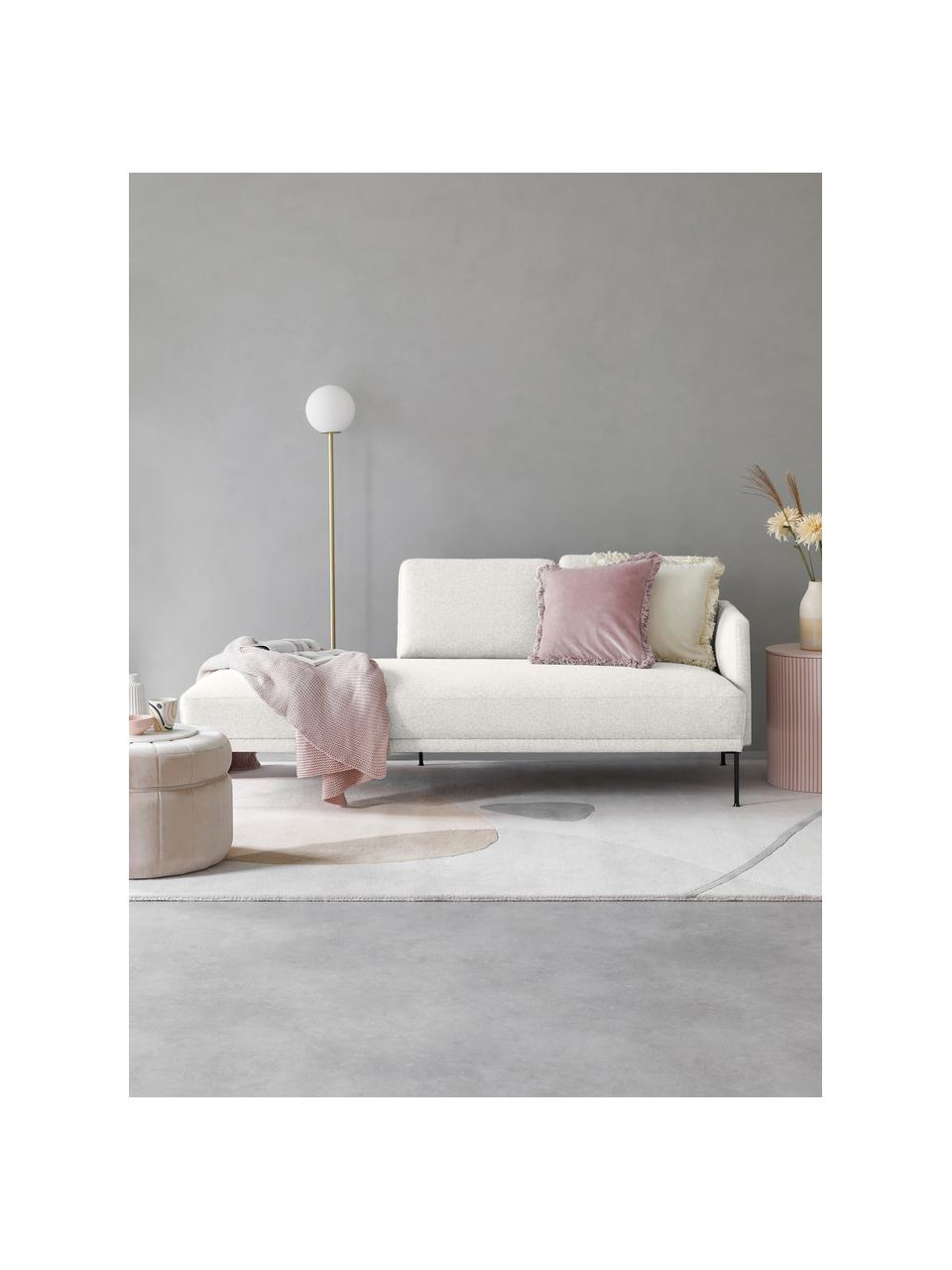 Chaise longue Fluente in beige met metalen poten, Bekleding: 80% polyester, 20% ramie , Frame: massief grenenhout, Poten: gepoedercoat metaal, Geweven stof beige, 202 x 79 cm