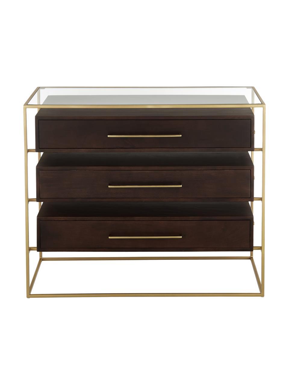 Szafka z szufladami ze szklanym blatem Lyle, Ciemnybrązowy, odcienie złotego, S 100 x D 82 cm
