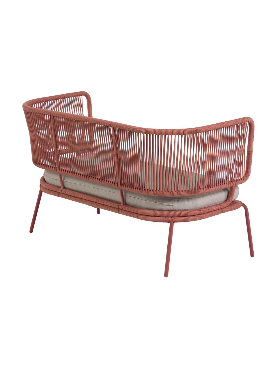 Garten-Loungesofa Nadin (2-Sitzer), Gestell: Metall, verzinkt und lack, Bezug: Polyester, Rosa, B 135 x T 65 cm
