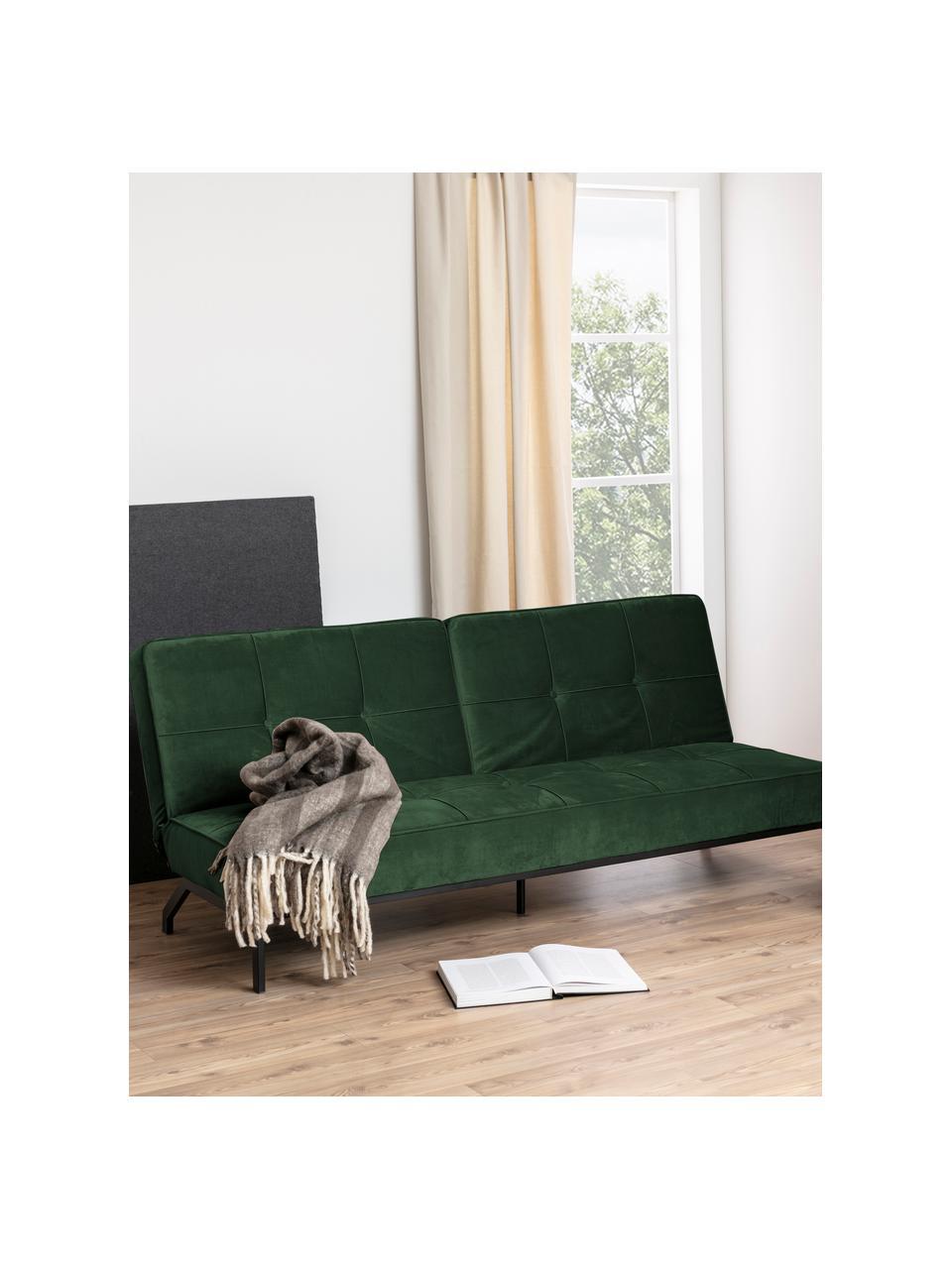 Fluwelen slaapbank Perugia in groen met metalen poten, uitklapbaar, Bekleding: polyester, Poten: gelakt metaal, Fluweel groen, B 198 x D 95 cm