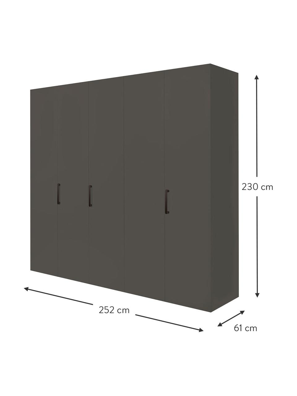 Kleiderschrank Madison 5-türig, inkl. Montageservice, Korpus: Holzwerkstoffplatten, lac, Grau, Ohne Spiegeltür, 252 x 230 cm