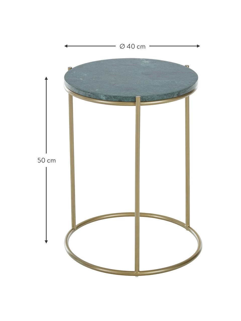 Tavolino rotondo con piano in marmo Ella, Struttura: metallo verniciato a polv, Piano d'appoggio: marmo verde Struttura: dorato opaco, Ø 40 x Alt. 50 cm