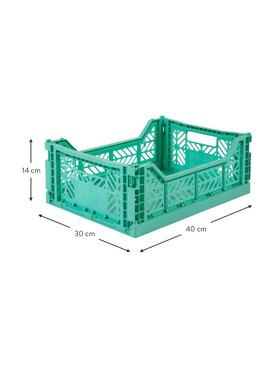 Caja plegable apilable Mint, mediana, Plástico reciclado, Verde menta, An 40 x Al 14 cm