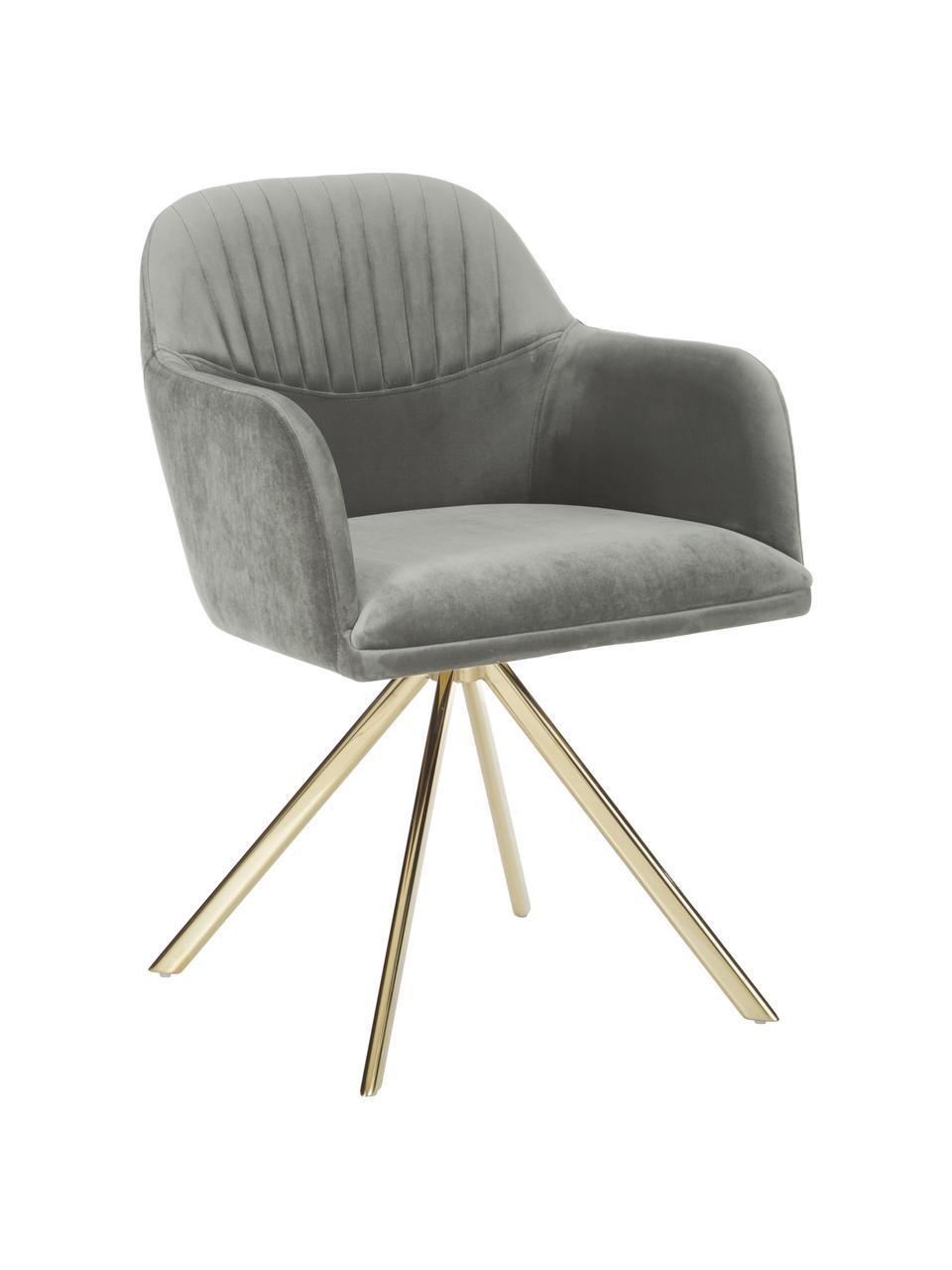 Krzesło z podłokietnikami z aksamitu Lola, obrotowe, Tapicerka: aksamit poliestrowy Dzięk, Nogi: metal galwanizowany, Aksamitny szary kamienny, złoty, S 55 x G 52 cm