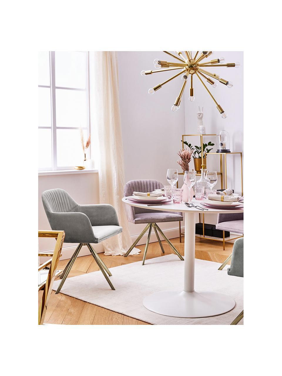 Fluwelen draaistoel Lola met armleuning, Bekleding: fluweel polyester, Poten: gegalvaniseerd metaal, Fluweel steengrijs, poten goudkleurig, B 55 x D 52 cm