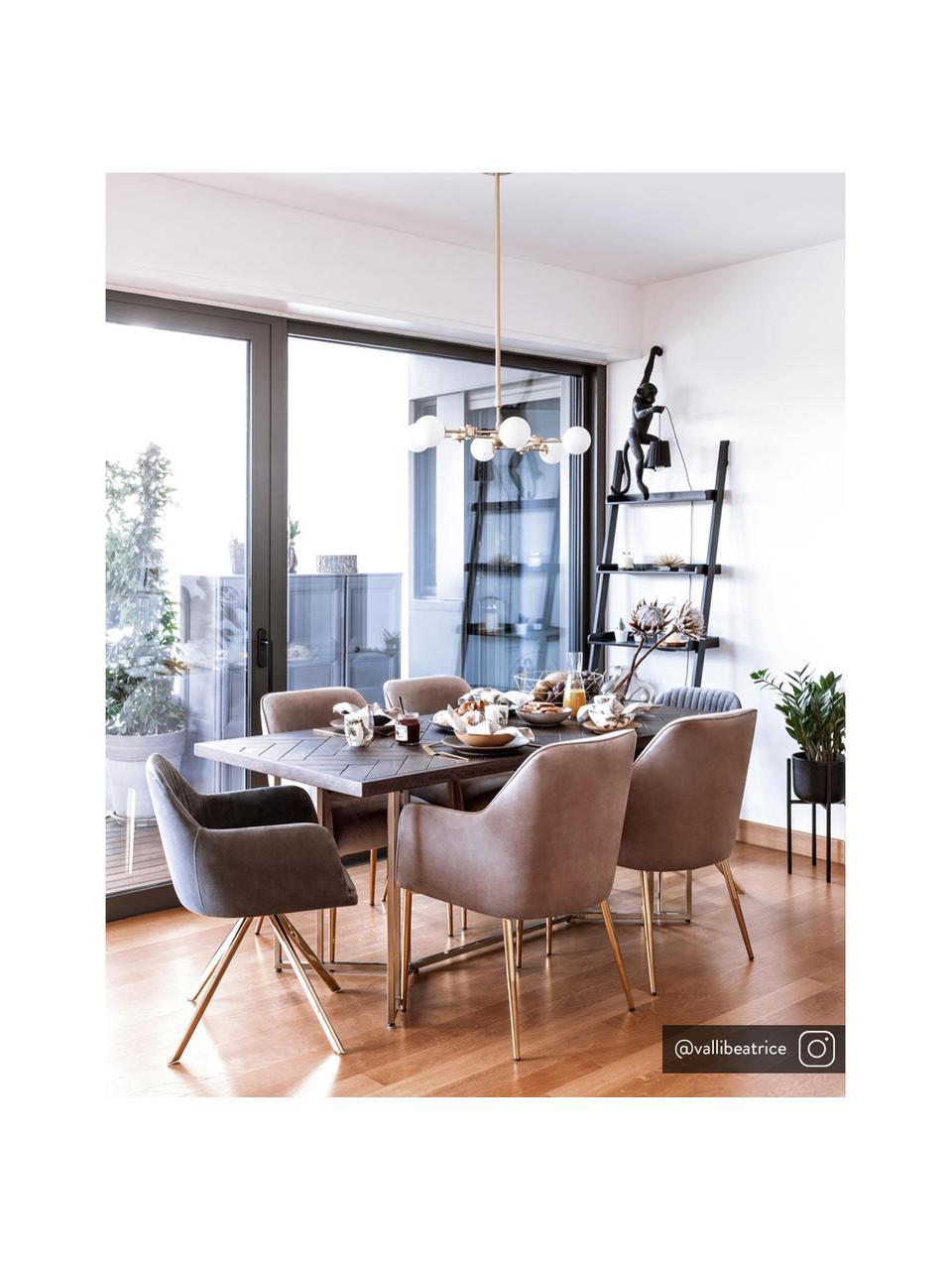Krzesło obrotowe z podłokietnikami z aksamitu Lola, Tapicerka: aksamit poliestrowy Dzięk, Nogi: metal galwanizowany, Aksamitny szary kamienny, złoty, S 55 x G 52 cm