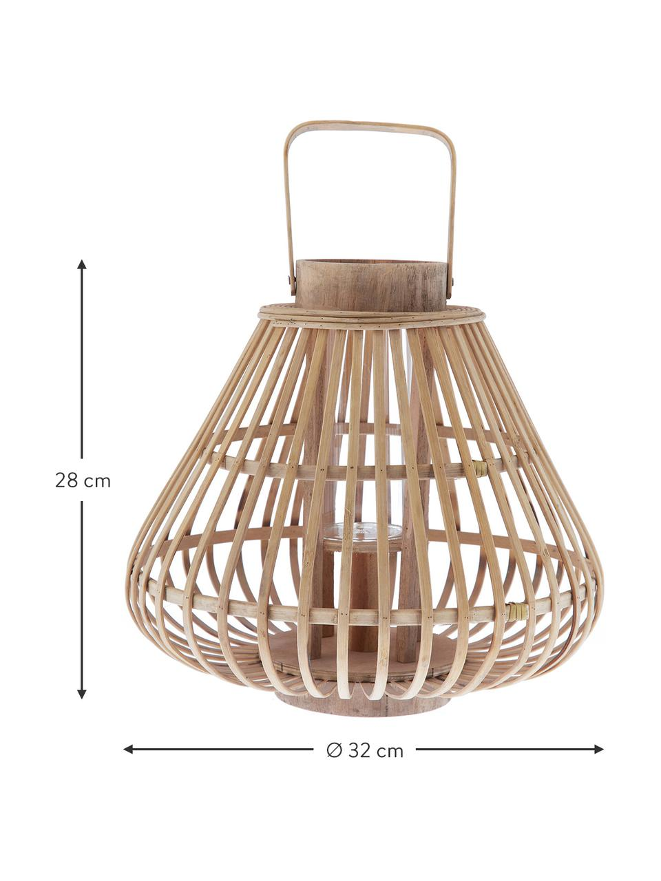 Windlicht Sahara, Bamboe, Behuizing: bamboehoutkleurig. Glazen element: transparant, Ø 32 x H 28 cm
