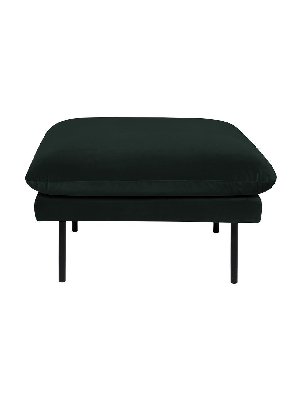 Poggiapiedi da divano in velluto verde scuro Moby, Rivestimento: velluto (rivestimento in , Struttura: legno di pino massiccio, Velluto verde scuro, Larg. 78 x Alt. 48 cm