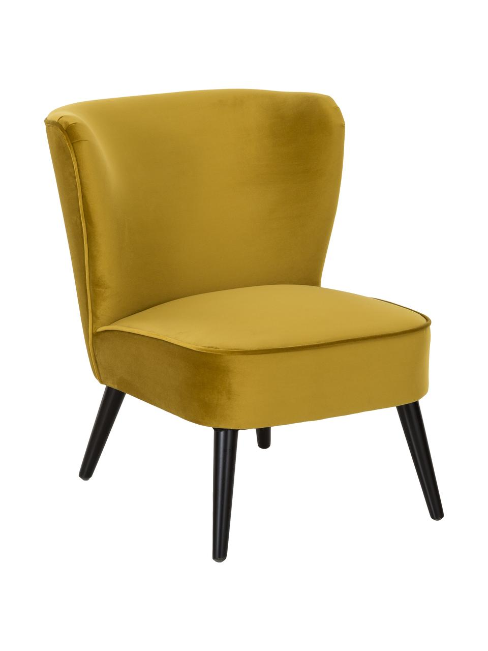 Fotel koktajlowy z aksamitu Robine, Tapicerka: aksamit (poliester) Dzięk, Nogi: drewno sosnowe, lakierowa, Aksamitny oliwkowy żółty, S 63 x G 73 cm