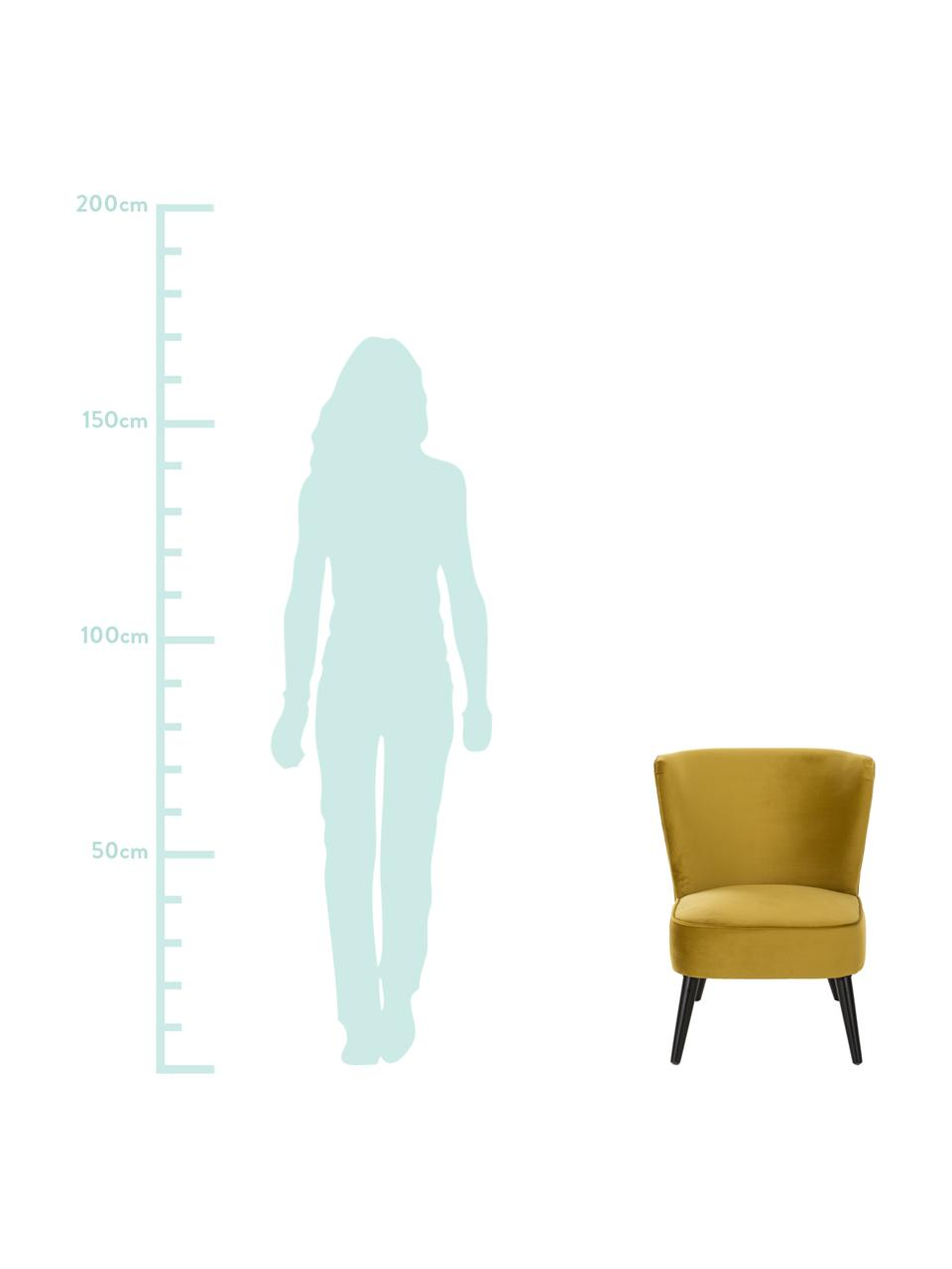 Samt-Cocktailsessel Robine in Olivgelb, Bezug: Samt (Polyester) Der hoch, Füße: Kiefernholz, lackiert, Samt Olivgelb, B 63 x T 73 cm